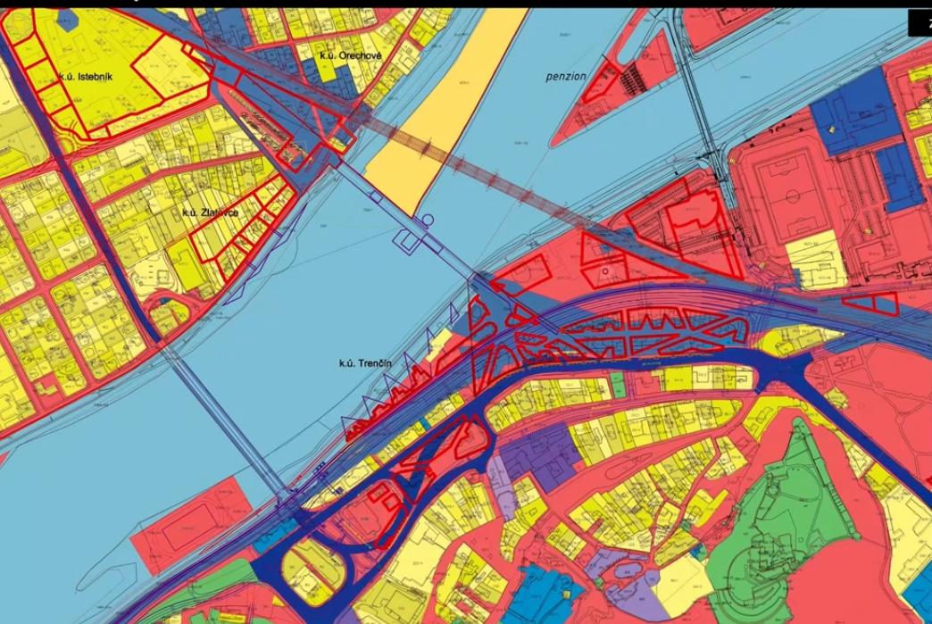 Mapa TN City ružova pozemky mesta